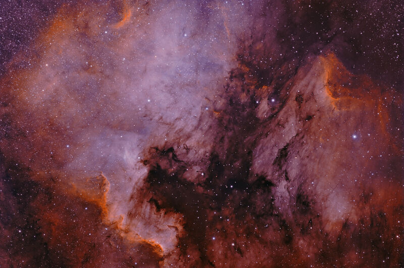 North American Nebula in Ha and Oiii - Pseudo Hubble palette.