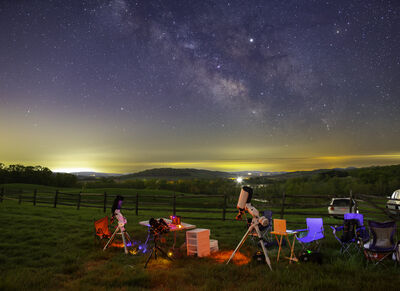 Gear and Milky Way at Sky Meadows State Park, NOVA