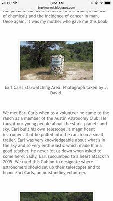Earl Carls Memorial