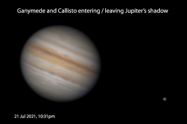 Ganymede and Callisto entering/leaving Jupiter's shadow