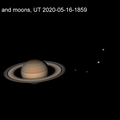 Saturn and moons forming a line 2020-05-16 UT