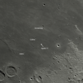 Apollo 11 landing site with Armstrong, Aldrin and Collins craters