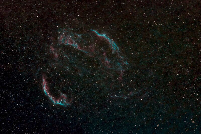 Veil Nebula complex with vintage lens and dual-band filter