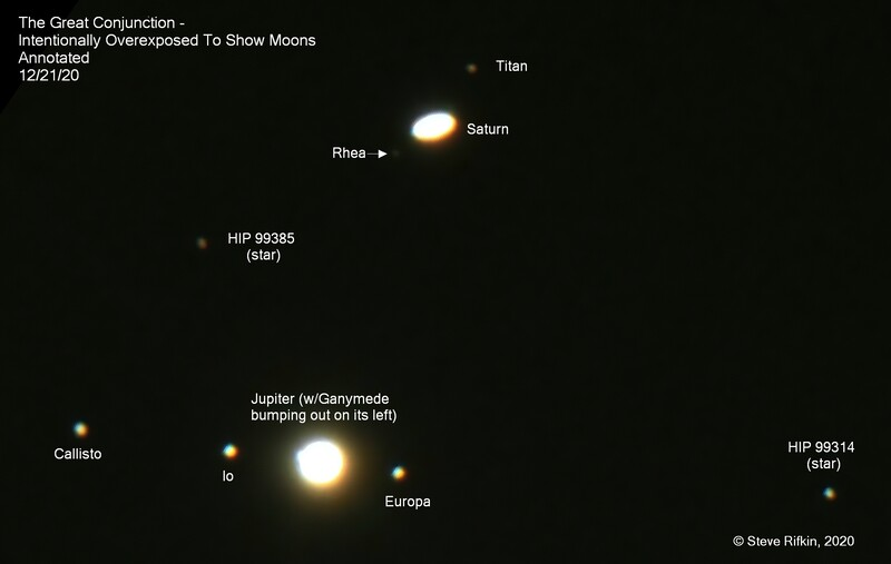 Great Conjunction - Overexposed And Labled To See Moons by SteveRifkin 12-21-20