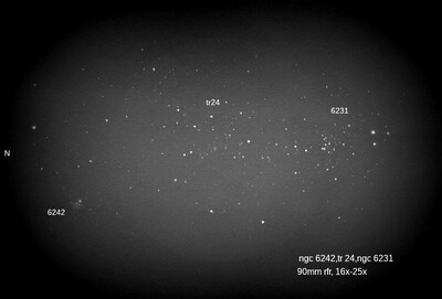 ngc 6242,trumpler 24 and ngc 6231 with the 90mm
