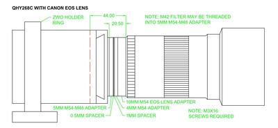 QHY268C with EOS Lens Back-Focus Arrangement