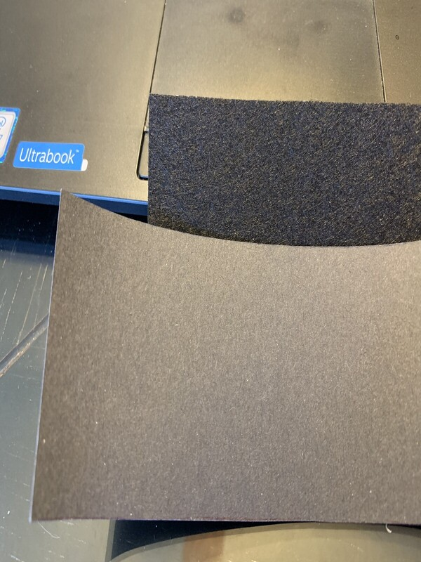 Materials - card-stock poster board and stiff black felt (front view)
