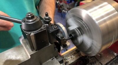 Turning the Delrin tips on the mini-lathe