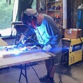 Pete Welding the Mirror Cell