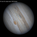 Jupiter 30/7/2020, effect on stacking a different number of frames
