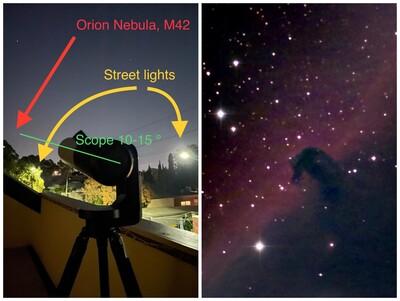 Horsehead Nebula through street lights on a city balcony