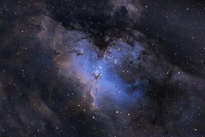 Eagle Nebula SII Ha OIII Green Removal