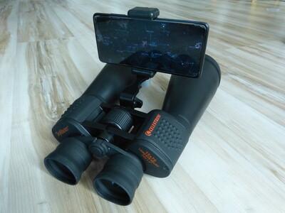 Smartphone attached to binoculars