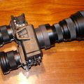 3X night vision lens in c-mount (75mm/f1.3) mounted on PVS-7/AC goggle
