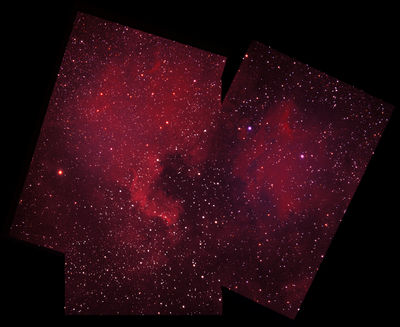 Mosaic of North America Nebula (NGC 7000) and Pelican Nebula (IC 5070)
