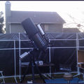 "Celestron C14 on G11 with Orion 4"" refractor piggy backed on top"