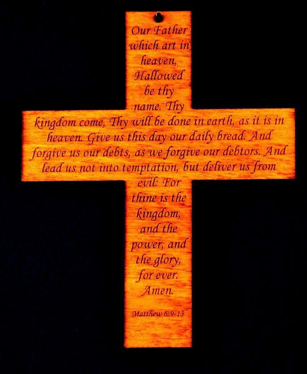 Lord's Prayer Cross  Engraved