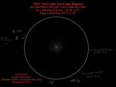 Tau CMa, HJ 2362 in NCG 2362