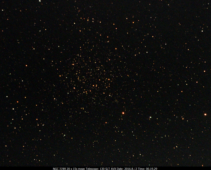 NGC.7789 20x15s 130SLT on AVX, Ultrastar-C w/Optolong CLS CCD Filter 2016.8.13 00.19.29