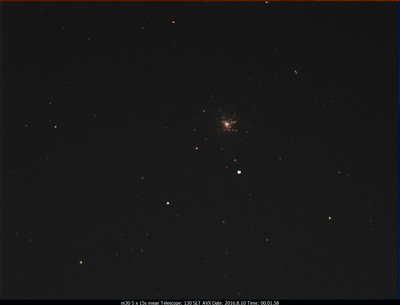 M30 130SLT on AVX w/Optolong CLS CCD filter (5x15s) 2016.8.10 00.01.58