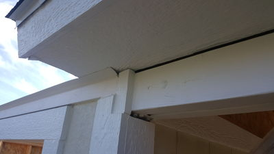 Detail of soffit weather strip.