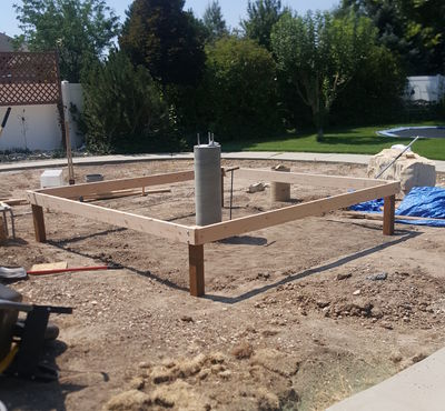 The floor frame with anchor posts attached.