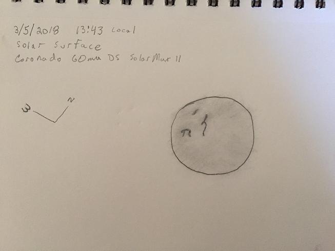 Solar observation Sketch 3 5 2018 B