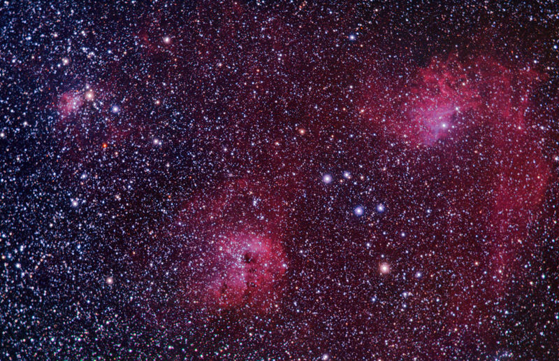 IC 405 Flaming star N. + IC 410 Tadpole N. + IC 417 Spider N.