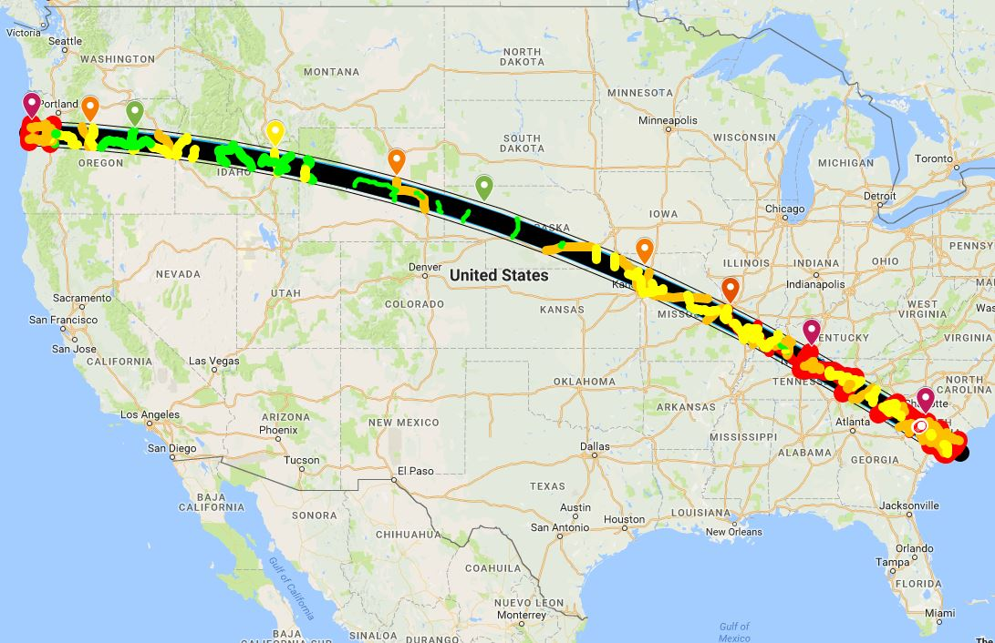 Solar Eclipse 2017 Highway Traffic Density Map   2017 Solar