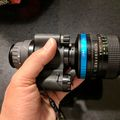 Canon 50mm f/1.4 lens, FD-to-C-mount adapter, and Mod3