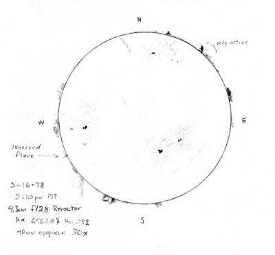 H alpha 3 16 1978 drawing