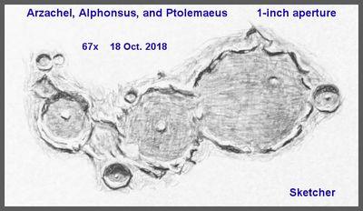 Arzachel Alphonsus Ptolemaeus 1 inch aperture 18 Oct 2018 67x Sketcher