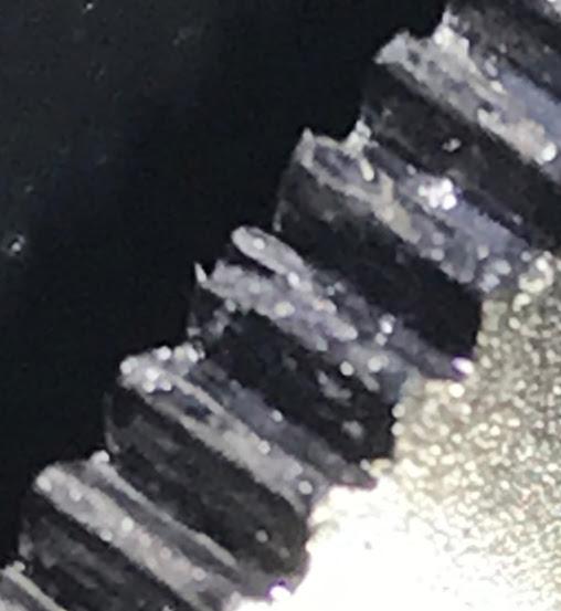 Closeup of damaged Altitude Encoder Gear