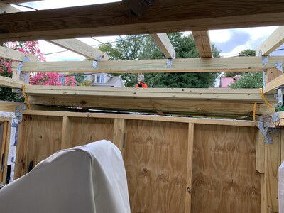 View out west as get ready to pull roof into place