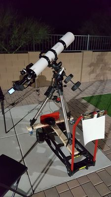 "Explore Scientific ED127 Apo Triplet Refractor on Celestron AVX Mount and unmodded Canon EOS Rebel T3i DSLR with 2"". Optolong L-PRO filter"
