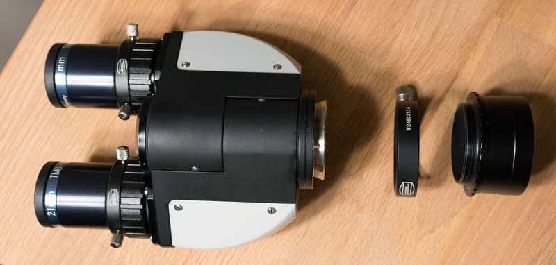 """Modified Zeiss binoviewer head from Denis Levatic (denis007dl) with Baader quick change adapter and 2"""" Baader nosepiece (exploded view)"""