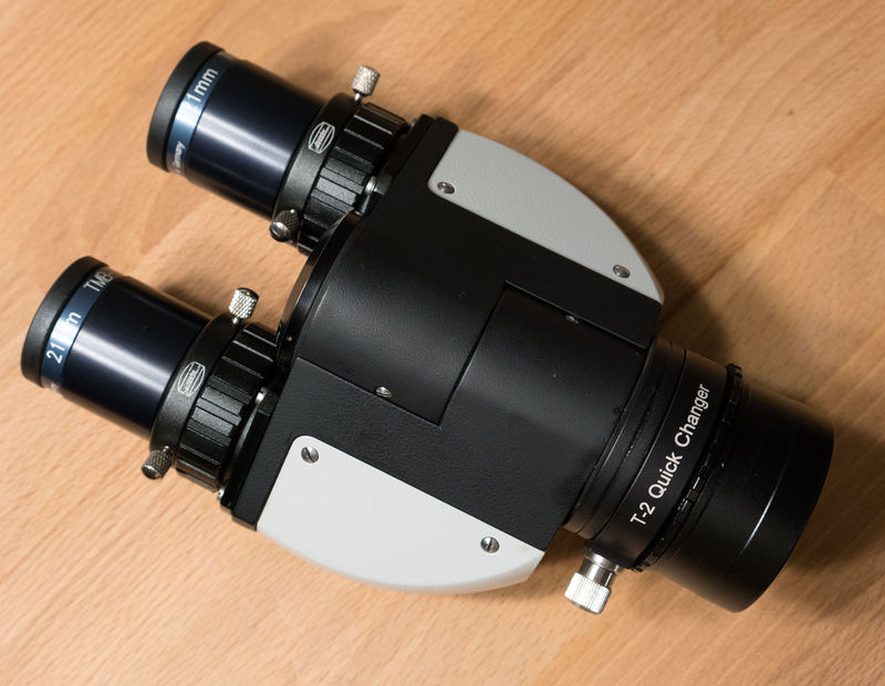 """Modified Zeiss binoviewer head from Denis Levatic (denis007dl) with Baader quick change adapter and 2"""" Baader nosepiece"""