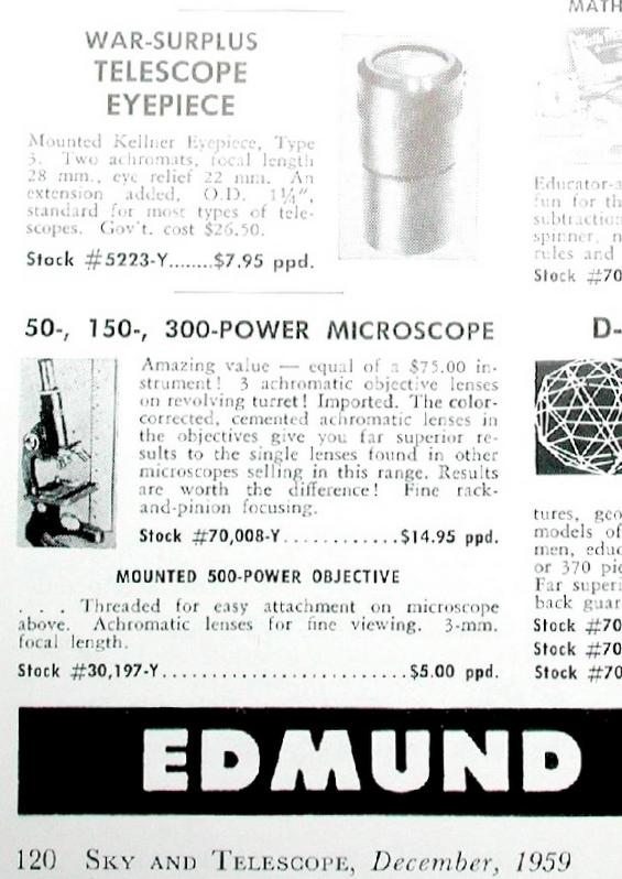 Edmund Scientific War-Surplus Kellner Sky and Telescope Dec 1959.JPG
