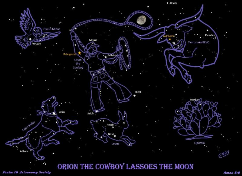 Orion the Cowboy Lassoes the Moon with Dog Bevo and Owl NAMES 03072021.JPG