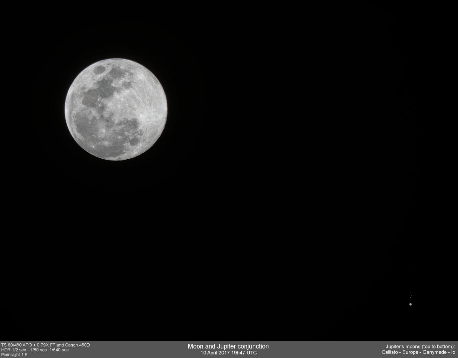 HDR image of the Moon-Jupiter conjunction on April 10th