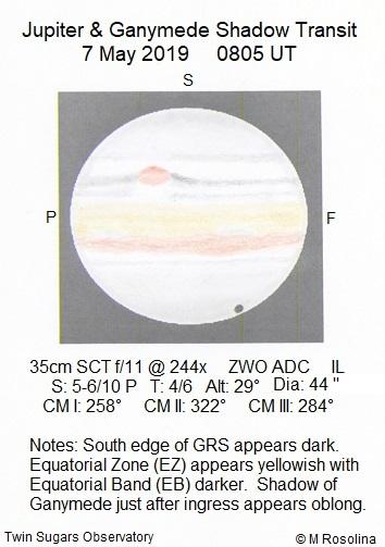 Jupiter and a Shadow Transit May 7th, 2019 - Sketching - Cloudy Nights