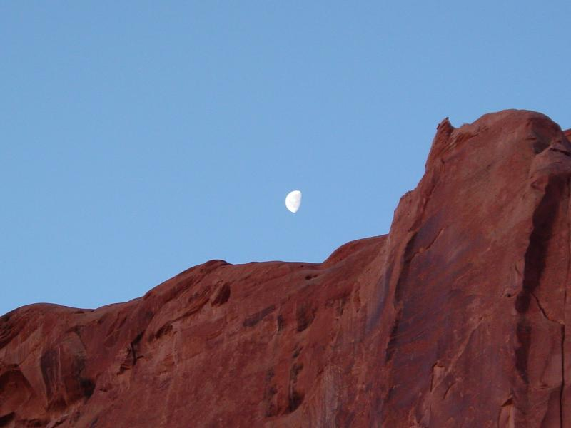 DSC01975 Moon over hills at Gaulding's at Monument Valley 5-8-2008.JPG