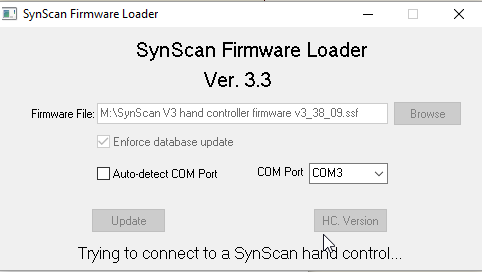 Can not connect to a Synscan hand control