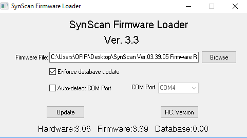 synscan v3 hand controller firmware failed