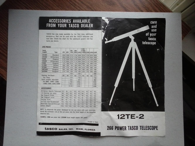 Early tasco 12te 2 find classic telescopes cloudy nights