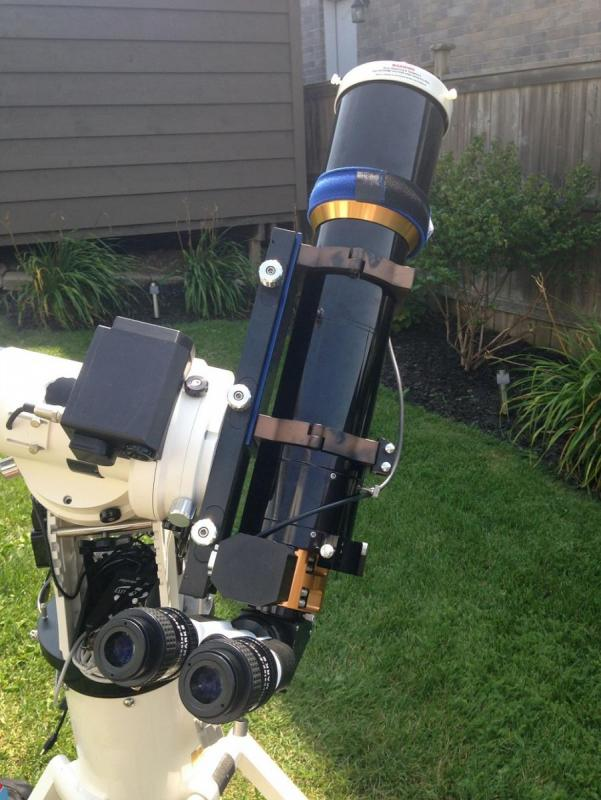 William Optics Zenithstar 110 setup to view the Aug 21, 2017 (partial) solar eclipse_   Mount_ AP1100GTO  Tripod_ ATS portable pier Binoviewers_ William Optics Solar Filter_ Kendrick White light.jpg