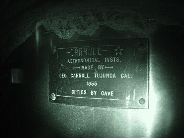 Label on Carroll 10-inch Reflector 1955-small.jpg