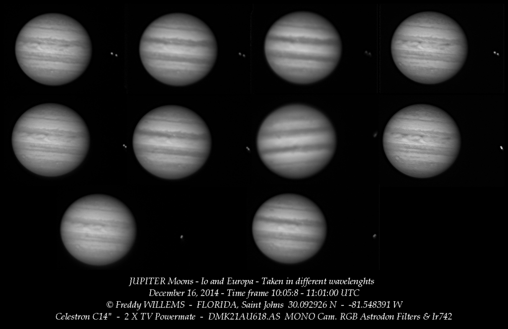 JUPITER and MOONS - Io & Europa conjunction 12/16/2014